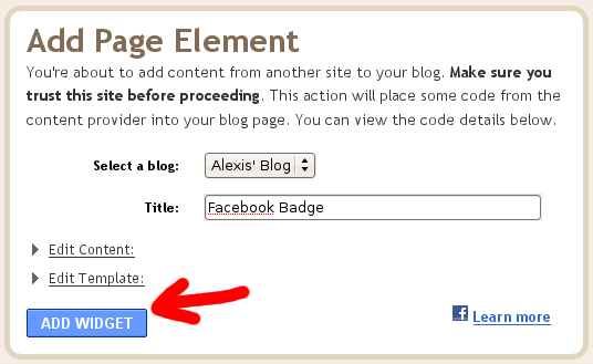 Blogspot screenshot showing the Add Widget button when adding Facebook on your blog.
