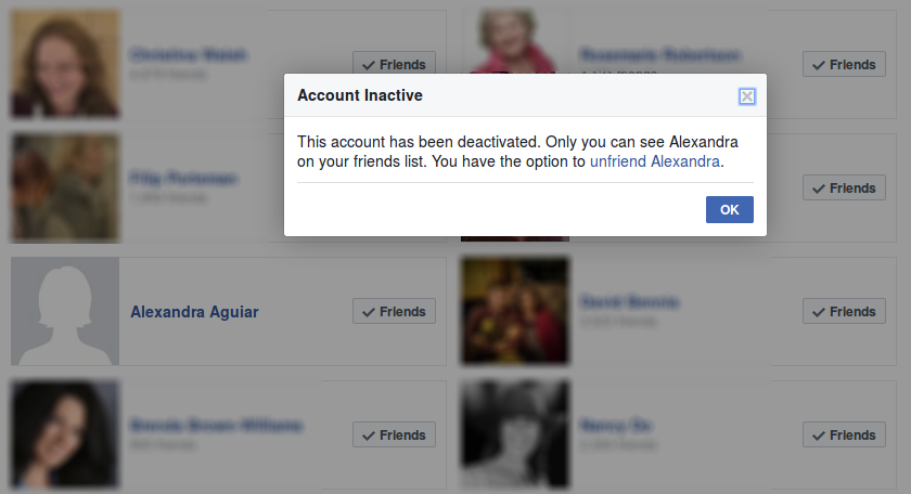 Screenshot of the popup dialog that appears when a friend's account is deactivated and you click on their name.