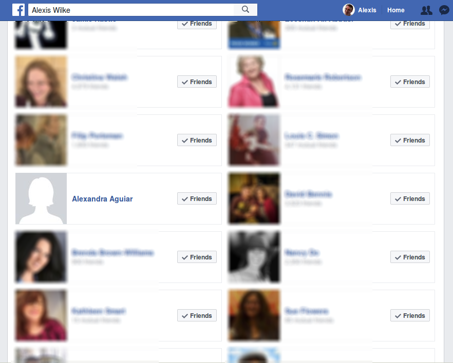 Screenshot of my Friend's list with one who either blocked me or closed here Facebook account.