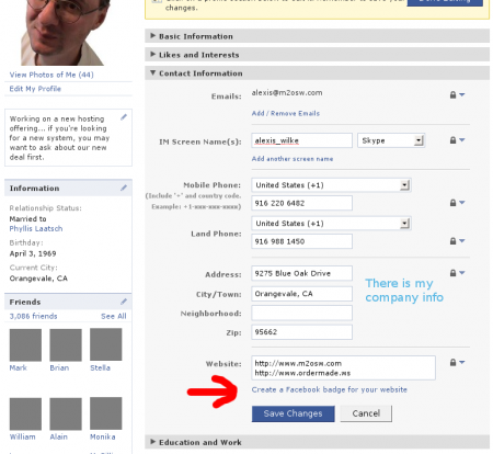 Facebook Profile sample (Apr 2010)