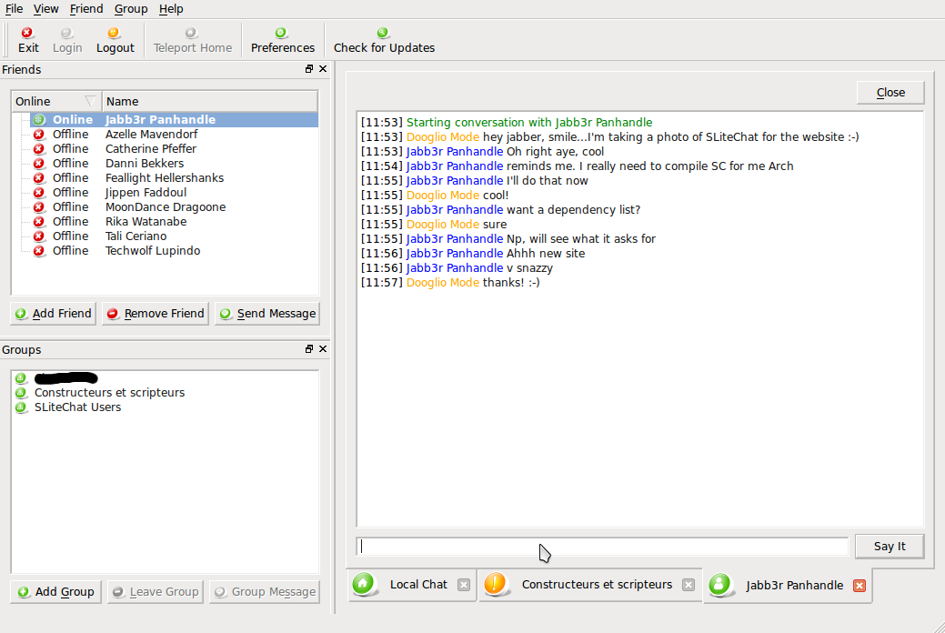 SLiteChat screenshot